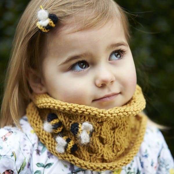 knitted childs bumblebee scarf and hair clip