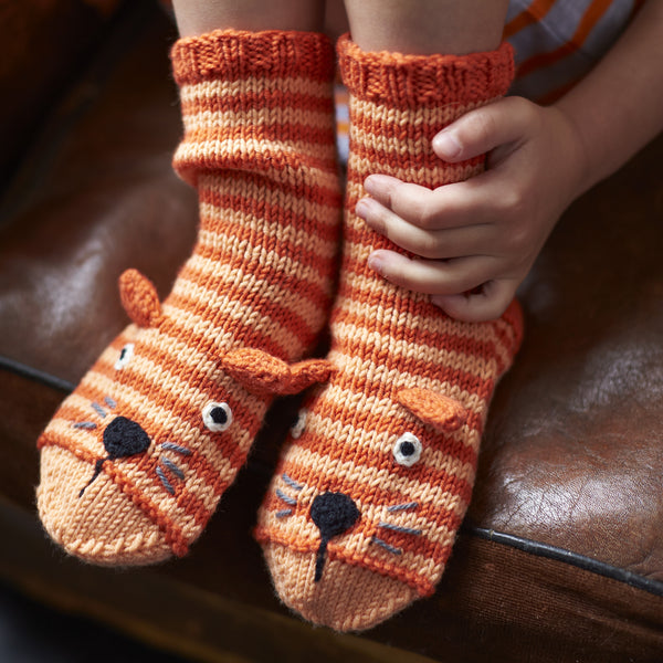 knitted striped cat socks