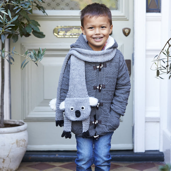 knitted childs koala scarf