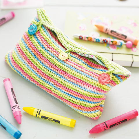 colourful striped knitted pencil case