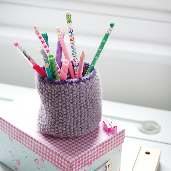knitted purple pencil holder