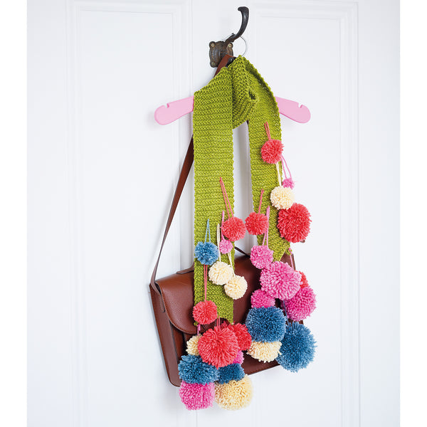 knitted colourful pom pom scarf