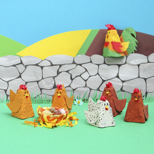 Recycled egg carton hens and cockerel