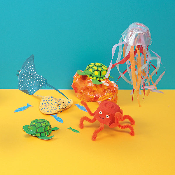 colourful paper sea creatures