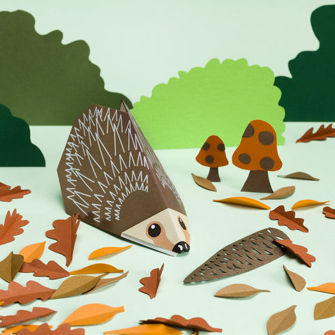 Origami Hedgehog and Autumn Leaves