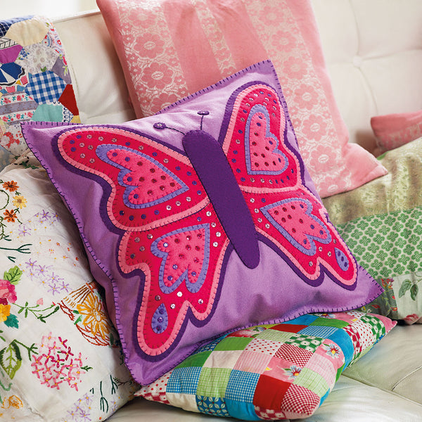 Homemade felt butterfly cushion