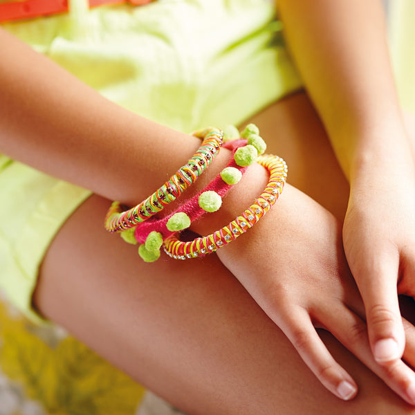colourful pompom bangle for kids