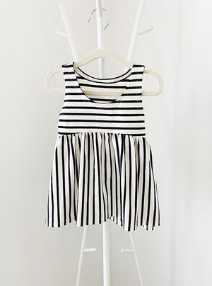 High Low Tank - Black/Ivory Stripe