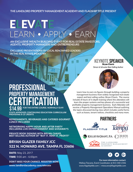 ELEVATE May23rd Professional Property Management Certification (Tampa) - 8 CE Credits