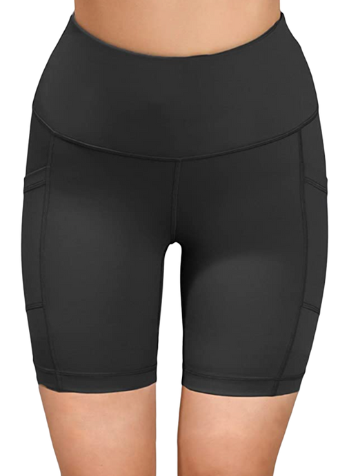 High-Waisted Biker Shorts with Pockets