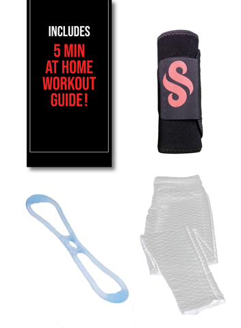 Anti-Cellulite Leggings, Sweat Belt, and Resistance Band Bundle