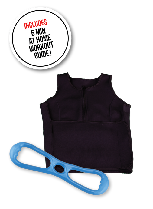 image-main:Sweat Vest and Resistance Band Bundle - Blue Hard