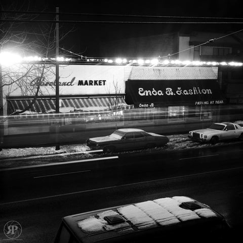Passing Trolley Bus, W. 10th Avenue, Vancouver, 1985 (Unlimited Print)