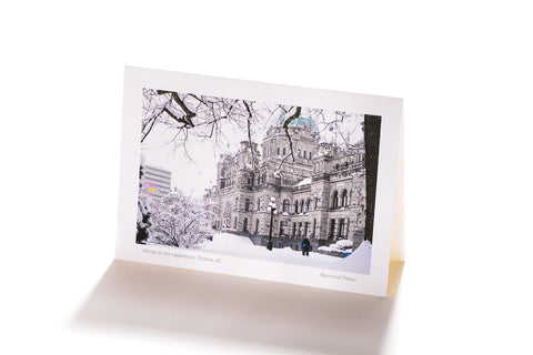 Winter at the Legislature, Victoria, BC (Greeting Card)