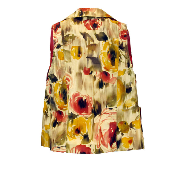 Watercolor Floral Gold Sateen Vest