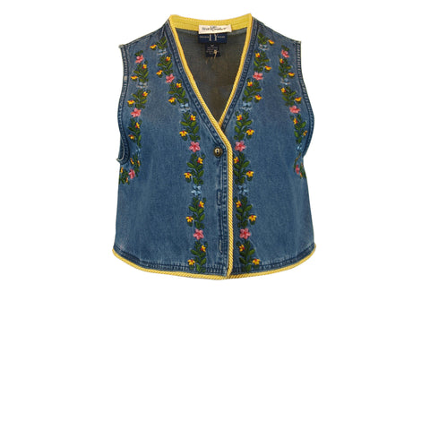 Embroidered Denim Crop Vest