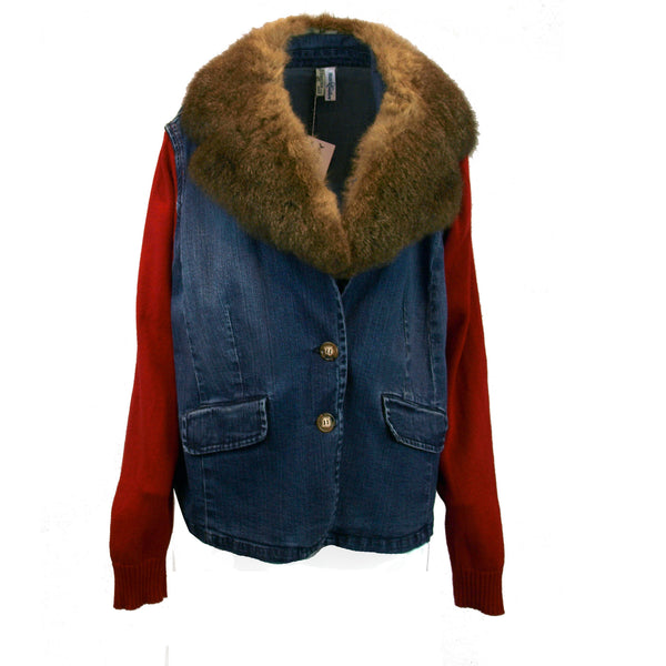 Denim Blazer with Removeable Fur Collar