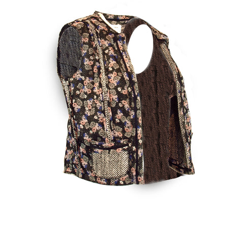 Floral and Tweed Trimmed Vest