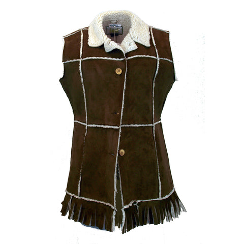 Faux Suede Vest with Fringe