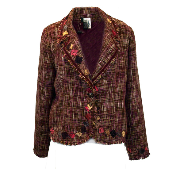 Tweed Jacket with Tumbling Squares