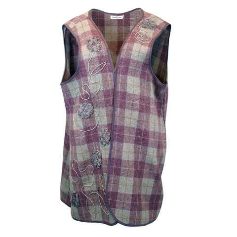 Appliqued and Embellished Plaid Vest