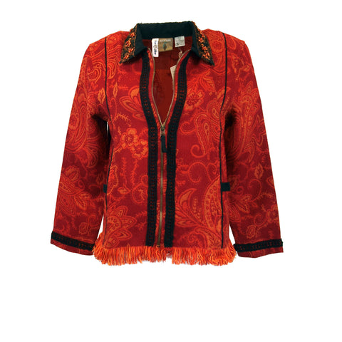 Tapestry inspired red/orange jacket