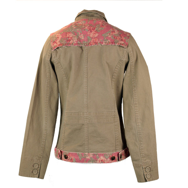 Taupe and Pink Floral Denim Jacket