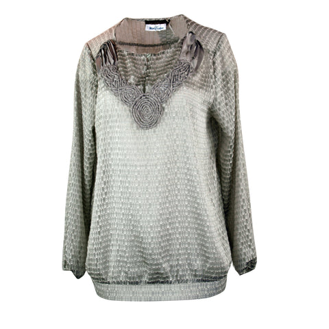 Silver Gray Top with Neck Embellishment