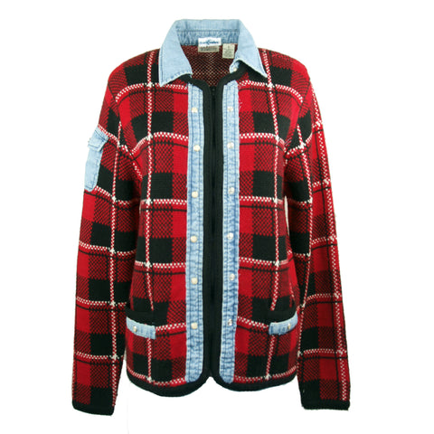 Denim Trimmed Classic Plaid  Sweater