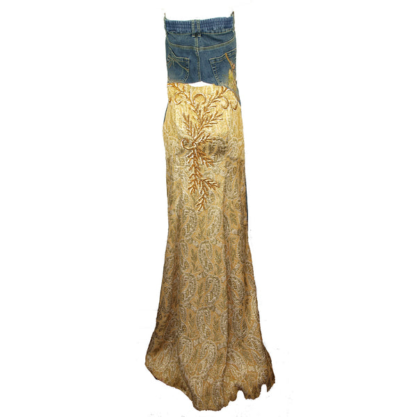 Hoard Couture Original Denim Brocade Dress