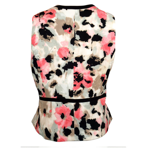 Coral and Black Watercolor Floral Print Vest