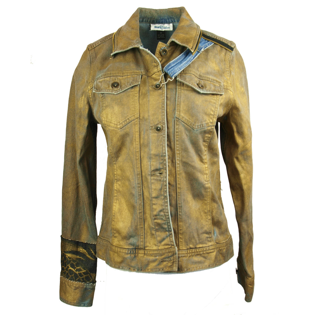"Hoard Couture Gold ""Leather"" Denim Jacket"
