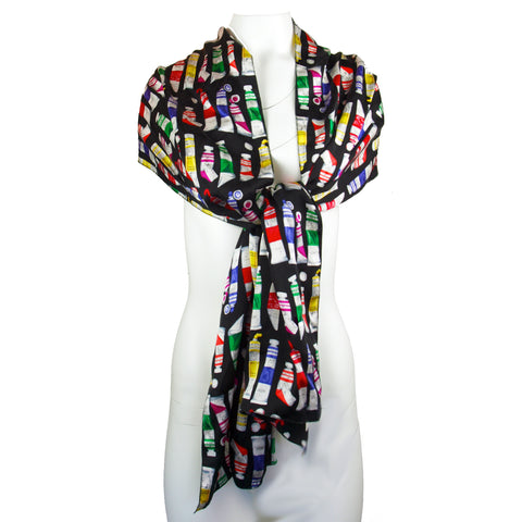 Paint Tube Print Silk Scarf