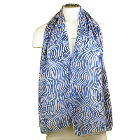 Blue and White Zebra Print Scarf