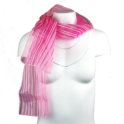 Pink Striped Organza Scarf