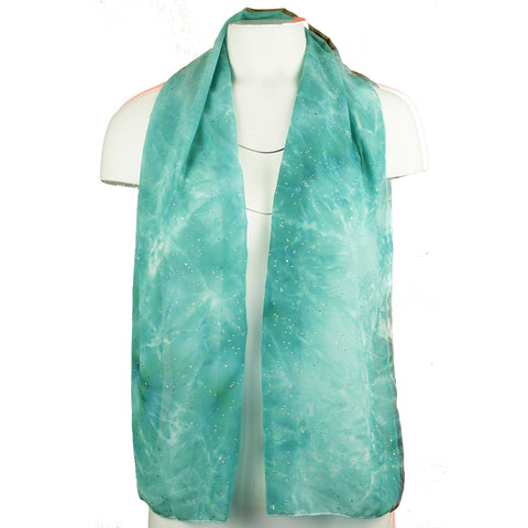 Teal and metallic silver scarves