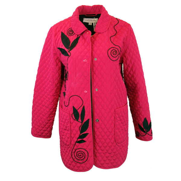 Hot Pink Quilted Jacket with Leaves