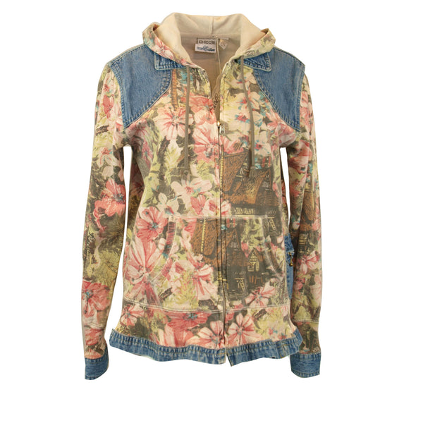 Tropical Patterned Hoodie Jacket