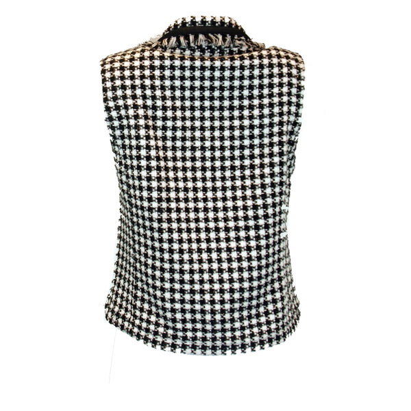 Black and White Houndstooth Classic Vest