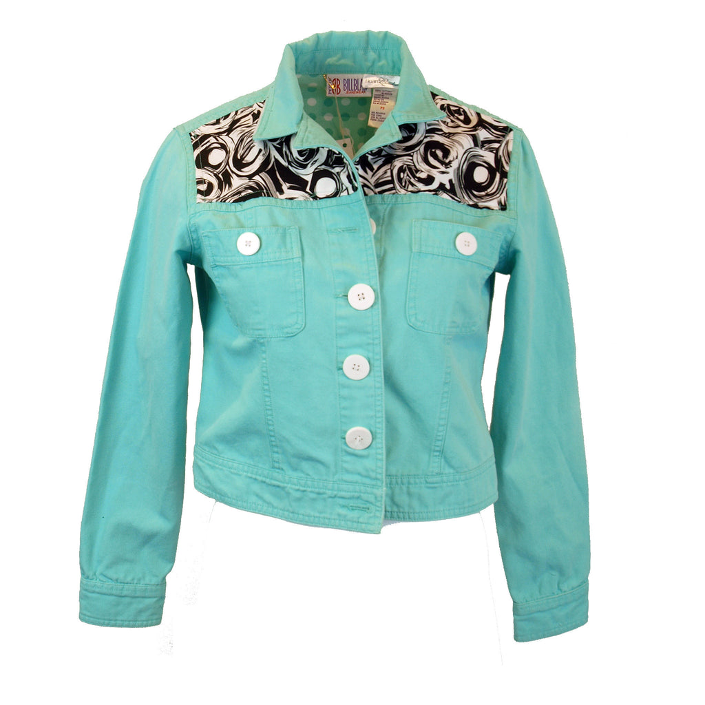 Turquoise Denim Jacket with Swirls