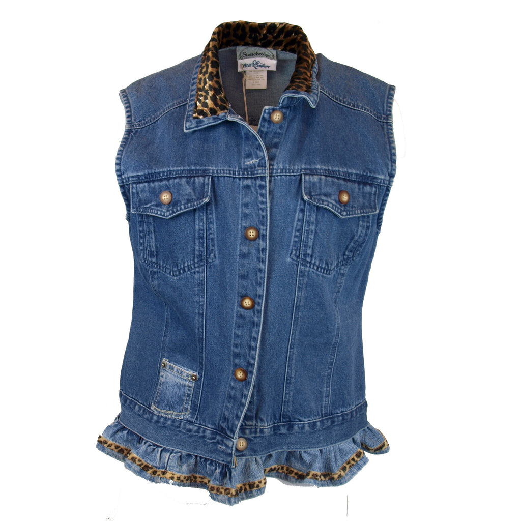 Leopard Trimmed Denim Vest