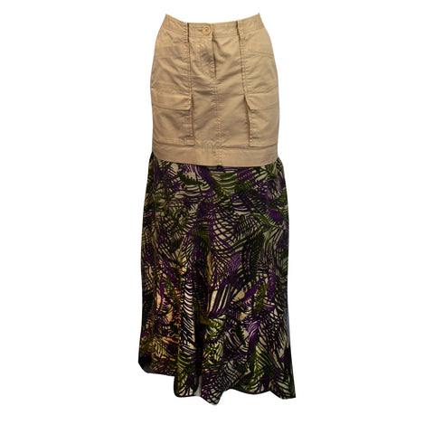Khaki and Jungle Print Skirt
