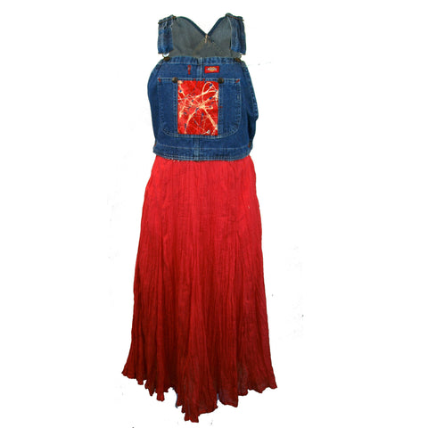Coral and Bib Overalls Skirt