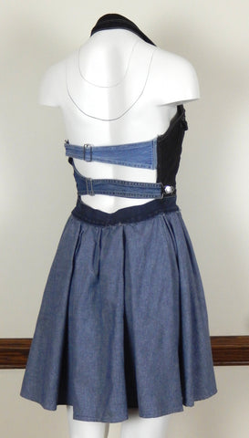 Hoard Couture Original Denim Halter Top Flirty Dress