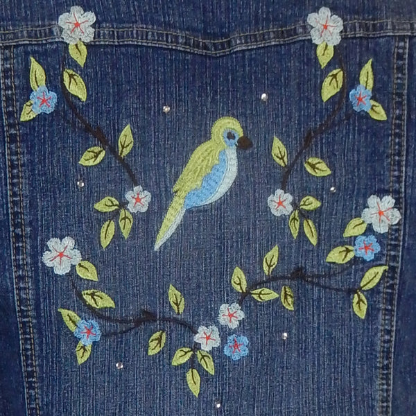 Embroidered Denim Ruffle Sleeve Jacket - Hoard Couture Original Denim