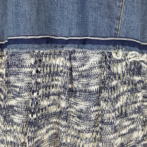 Blue Weave Button Front Topper by Hoard Couture Original Denim