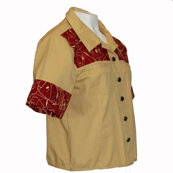 Camel Poplin Vest (former )Jacket with Hand-Painted Canvas Inserts
