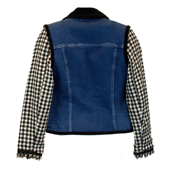 Denim with Houndstooth and Velvet Jacket