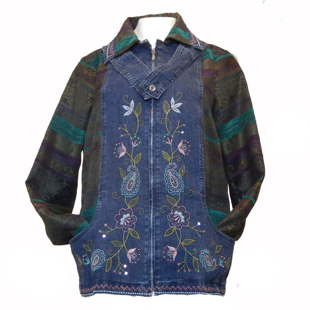Embroidered Panel Denim Jacket