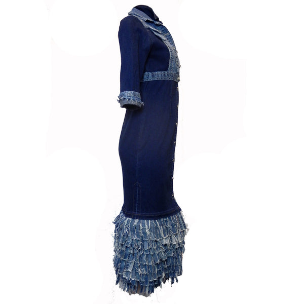Hoard Couture Original Denim Fringe Dress (Tea Length)